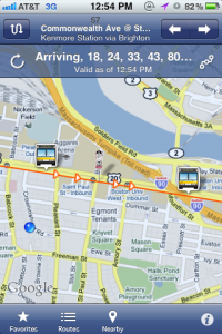 Pocket MBTA is a 99-cent app for iPhone that shows the location of buses in real time.