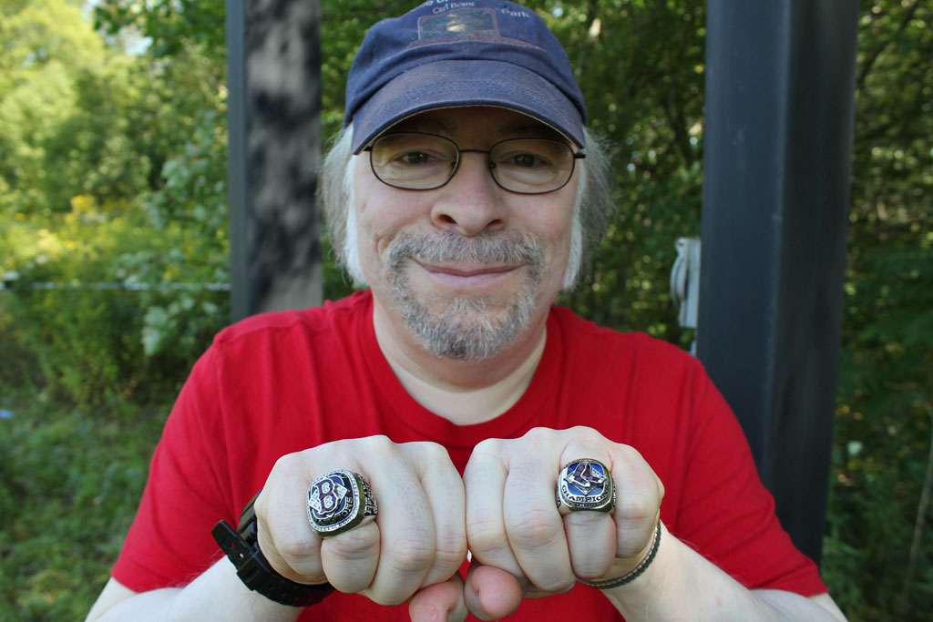 Check out those rings! Red Sox announcer Carl Beane (Lisa Tobin/WBUR)