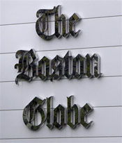 The Boston Globe logo appears on the front of their printing plant in Billerica, Mass., Tuesday, May 5, 2009. The New York Times Co., owner of The Boston Globe, will resume negotiations with its largest union after talks to cut millions of dollars from the union's contract ended at an impasse.  The Times has threatened to close the Globe unless unions agree to $20 million in cuts. (AP Photo/Charles Krupa)