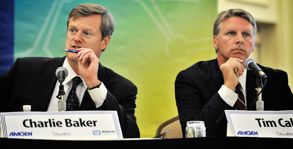 Republican Charlie Baker, left, and independent Tim Cahill participated in a debate in Cambridge on Monday. (AP)