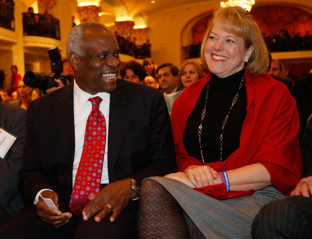 Supreme Court Justice Clarence Thomas with his wife, Virginia Thomas, in November 2007 (Charles Dharapak/AP)