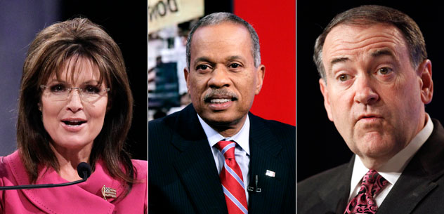Sarah Palin, Juan Williams, Mike Huckabee (AP)