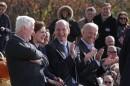 Left to right: Outgoing Democratic Rep. Bill Delahunt, Vicki Kennedy, Democratic candidate Bill Keating, Vice President Joe Biden (Andrew Phelps/WBUR)