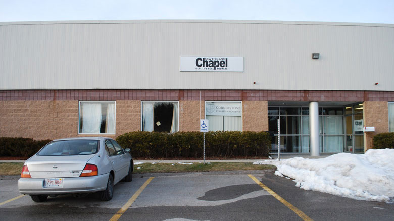 The exterior of the New England Chapel in Franklin, Sen. Scott Brown's church, is spare. (Bianca Vazquez Toness/WBUR)
