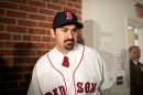 Newly minted Red Sox player Adrian Gonzalez after a Fenway Park press conference on Monday (Nick Dynan for WBUR)